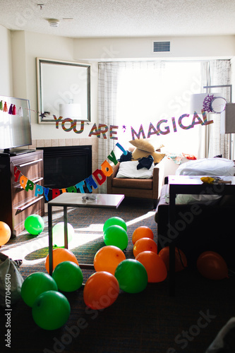 Birthday Decorations In A Messy Living Room