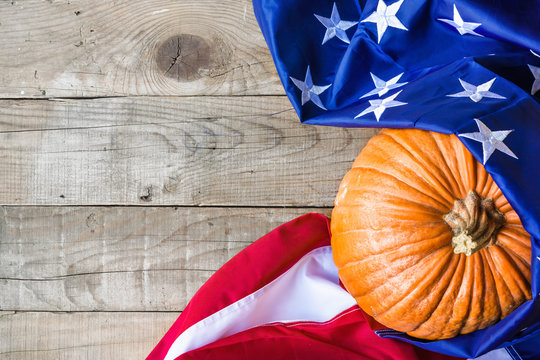 American flag over wooden background - Thanksgiving