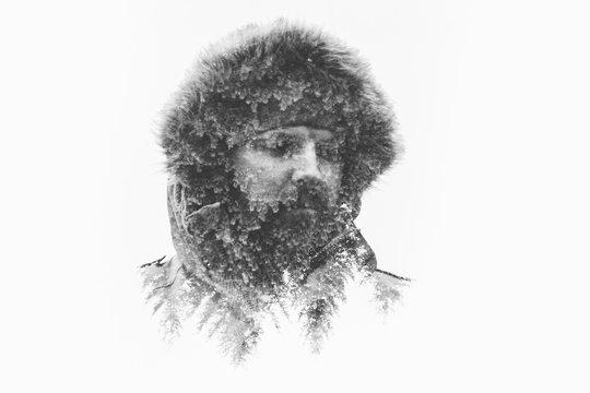 Double exposure portrait of man in fur hood