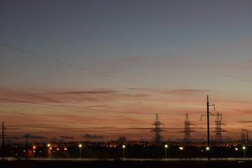 background, beautiful, beauty, black, building, center, city, cityscape, cloud, color, commercial, dark, dusk, evening, horizon, image, landscape, life, light, nature, night, orange, sky, skyline, sum