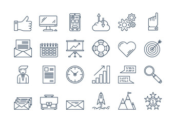 1691913 01 Outline BUSINESS icons set