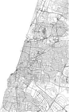 Strade di Tel Aviv, cartina della città, Israele. Mappa