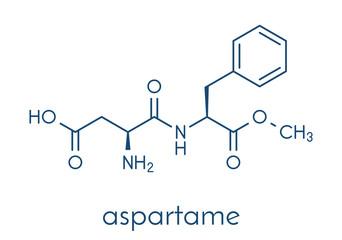 Aspartame artificial sweetener molecule (sugar substitute). Skeletal formula.