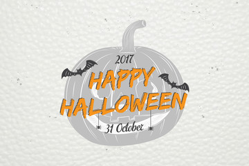 Happy Halloween. Invitation to a party of Halloween. Typographic labels, stickers, logos and badges.