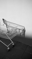 Empty shopping cart and its shadow