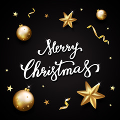 Merry Christmas text on black background. Hand lettering for invitation and greeting card, prints and posters. Hand drawn inscription, calligraphic design. Vector illustration