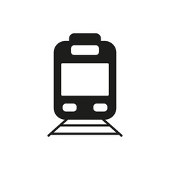 Train simple icon silhouette on white background. Ground transport
