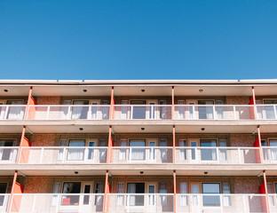 Hotel motel in summer sun
