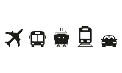 Public and commercial transport simple icons silhouette set