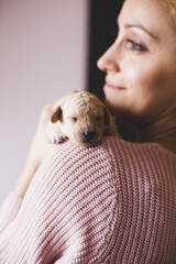 Young woman and little poodle puppy