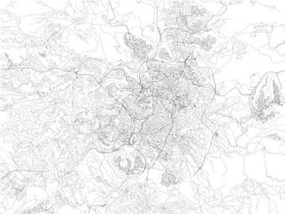 Strade di Gerusalemme, cartina della città, Israele. Mappa
