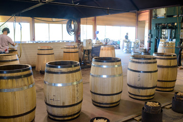 display of barrels