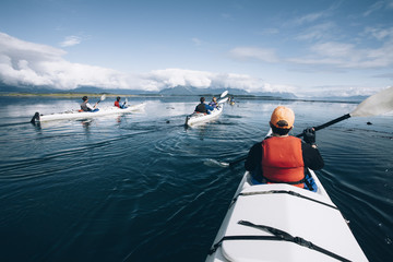 Sea kayakers paddling pristine waters of Muir Inlet, Glacier Bay National Park, Alaska