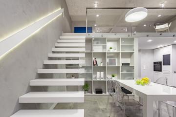 White mezzanine stairs