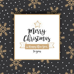 Christmas background with golden snowflakes and greetings