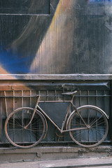 Old Bicycle with Chalk Board Copy Space