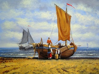 Ships, fisherman, sea  landscape. Oil paintings, canvas, art