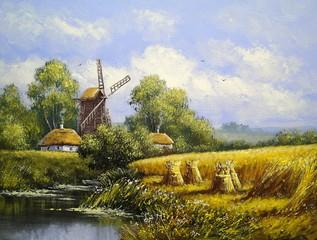 Windmill, village landscape. Oil paintings, canvas, art