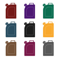 Oil jerrycan icon in black style isolated on white background. Oil industry symbol stock vector illustration.