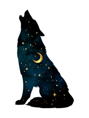 Silhouette of wolf with crescent moon and stars isolated. Sticker, print or tattoo design vector illustration. Pagan totem, wiccan familiar spirit art