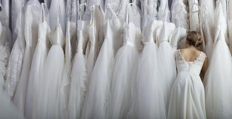 Girl chooses wedding dress