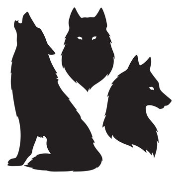 Set of wolf silhouettes isolated. Sticker, print or tattoo design vector illustration. Pagan totem, wiccan familiar spirit art