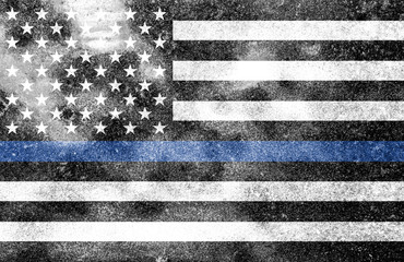 Police Support Flag Worn Textured Background