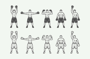 Vintage retro boxers set. Can be used for logo, badge, emblem, mark, label. Monochrome graphic Art. Vector Illustration.