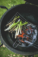 Barbecuing spring onions