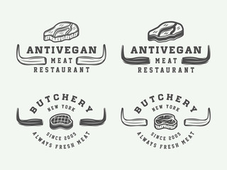 Set of vintage butchery meat, steak or bbq logos, emblems, badges, labels. Graphic Art. Vector Illustration.