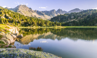 Estany Primer lake in Andorra, Pyrenees Mountains