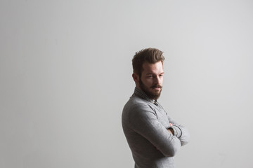 Attractive moody bearded young man