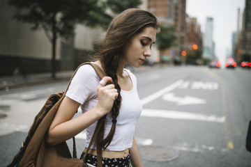 Young woman walking in NY
