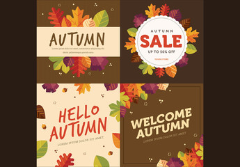 Set of 4 Square Autumn Cards 1