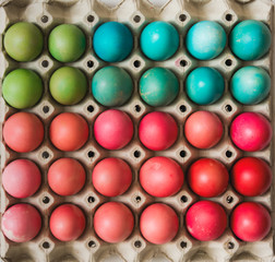 Colorful Easter eggs in carton