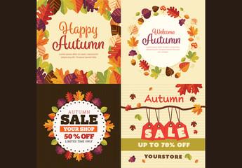 Set of 4 Square Autumn Cards 3