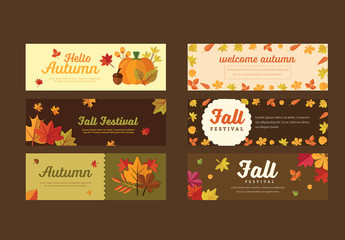 Set of 6 Autumn Banners