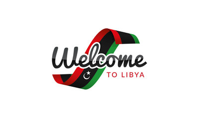 Welcome to Libya flag sign logo icon