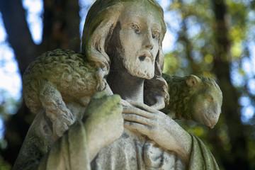 Jesus Christ - the Good Shepherd (ancient statue, close up)