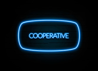 Cooperative  - colorful Neon Sign on brickwall