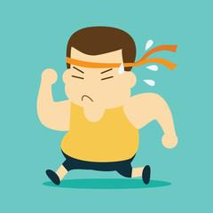 cartoon fat man running