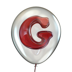 Letter G in transparent balloon 3D