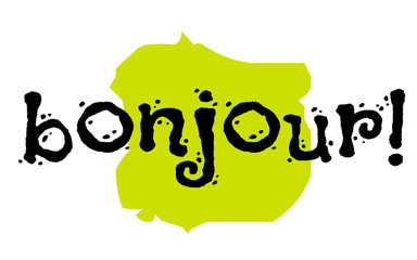 Bonjour sticker. Hello in frech language. Authentic design graphic stamp. Original series