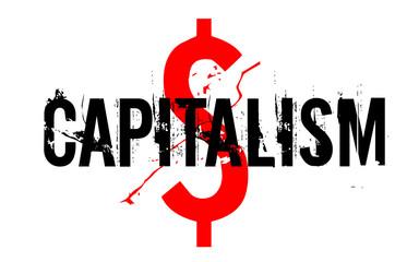 Capitalism sticker. Authentic design graphic stamp. Original series