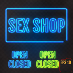 Sex Shop, Open, Closed - Neon Sign. Adults store banner. Vector illustration