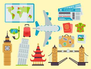 Airport travel icons flat tourism suitcase passport luggage plane transportation vector illustration.