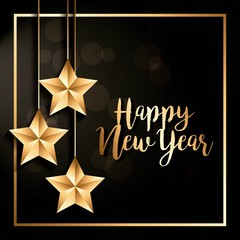 happy new year hanging stars decoration poster golden frame