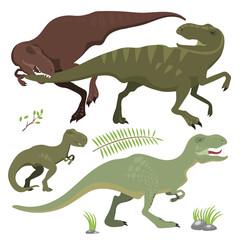 Scary dinosaurs vector tyrannosaurus t-rex danger creature force wild jurassic predator prehistoric extinct illustration