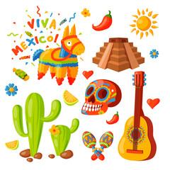Mexico icons vector illustration traditional graphic travel tequila alcohol fiesta drink ethnicity aztec maraca sombrero.