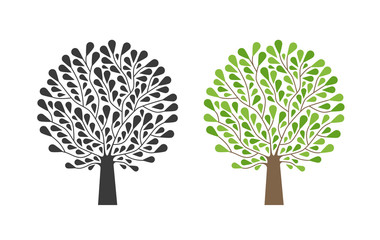 Ornamental tree, logo. Nature, garden, ecology, environment icon or symbol. Vector illustration